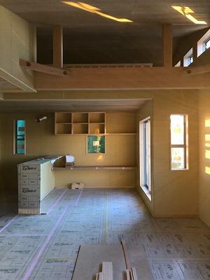 法隆寺2階リビングの木の家