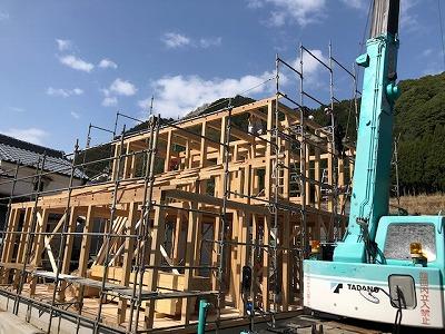 奈良で木の家注文住宅の棟上げなら平野木材
