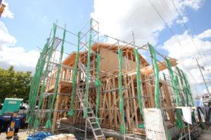 奈良で子育て世代の木の家注文住宅の棟上げなら平野木材