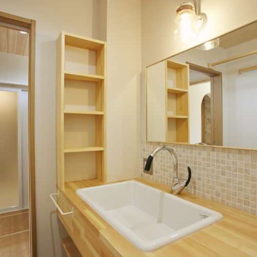 奈良で木の家注文住宅の会社平野木材の造作洗面台
